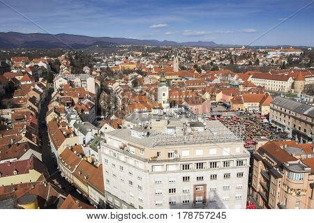 Panoramic view of the Upper town and Dolac market in Zagreb capital town of Croatia poster