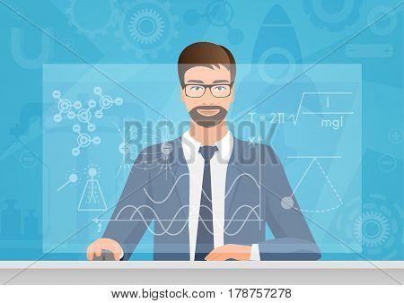 Bearded man Physicist making the graphs formula on the computer vector illustration. Physics technology