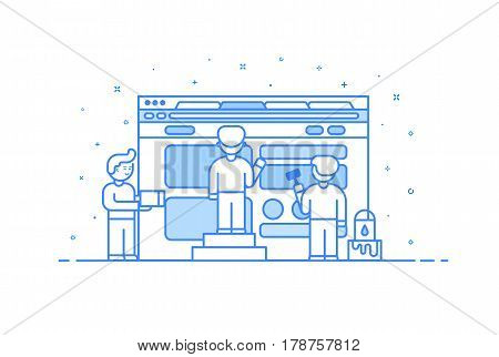 Vector illustration in flat outline and linear style. Concept of web design and user interface development. Cute people building and painting website in browser. Stock infographics design template.