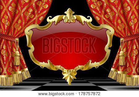 Suspended decorative gold gold baroque frame on the red curtain background. Square presentation artistic poster and placard