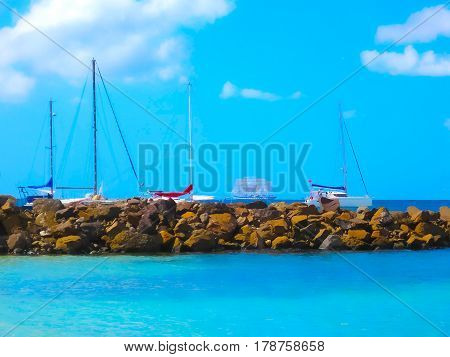 Small Yachts on the coast of Martinique. Image blurred in postproduction
