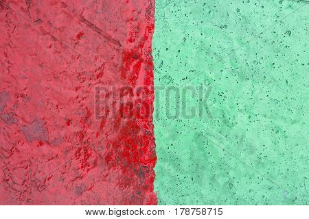 Rough Green And Red Cement Wall Texture Background