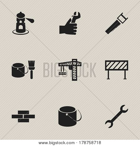 Set Of 9 Editable Construction Icons. Includes Symbols Such As Wrench, Crane, Pail And More. Can Be Used For Web, Mobile, UI And Infographic Design.