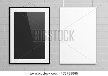 Double black and white tabloid poster mock up with frame on grey brick wall background.