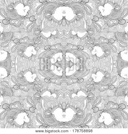 Uncolored repeating pattern with abstract lacy elements.