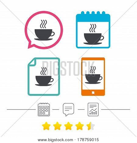 Coffee cup sign icon. Hot coffee button. Calendar, chat speech bubble and report linear icons. Star vote ranking. Vector
