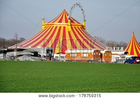 romantically circus tent in the land during the day