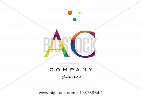 Ac A C  Creative Rainbow Colors Alphabet Letter Logo Icon