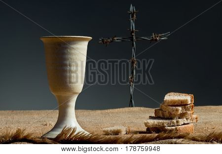 Chalice Of Wine With Bread And Cross
