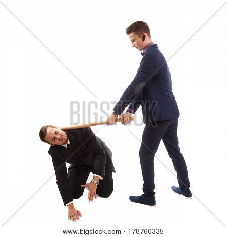 Two businessmen having a ferocious fight with weapons