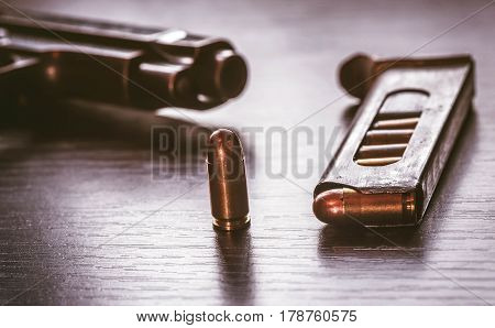 Gun magazine with 9 mm caliber bullets
