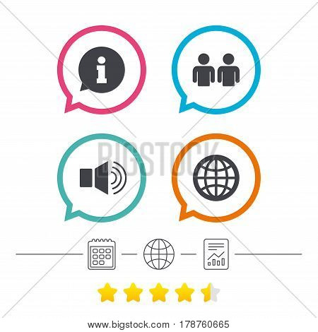 Information sign. Group of people and speaker volume symbols. Internet globe sign. Communication icons. Calendar, internet globe and report linear icons. Star vote ranking. Vector