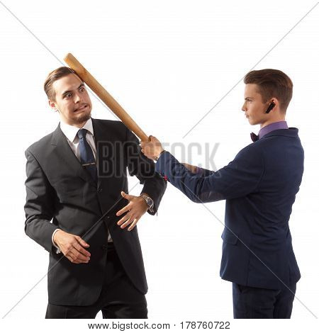 Two successful businessmen having a goofy fight