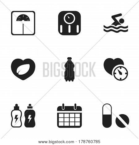 Set Of 9 Editable Training Icons. Includes Symbols Such As Pill, Energetic Beverage, Sport Water And More. Can Be Used For Web, Mobile, UI And Infographic Design.