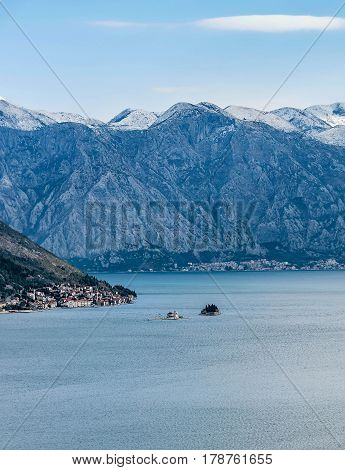Our Lady of the Rocks church in Bay of Kotor Montenegro