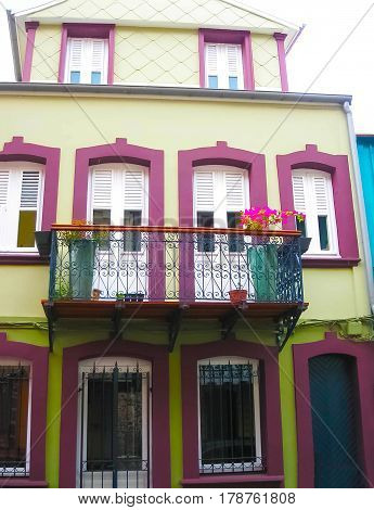 The colorful building in the downtown of Fort-de-France at Martinique