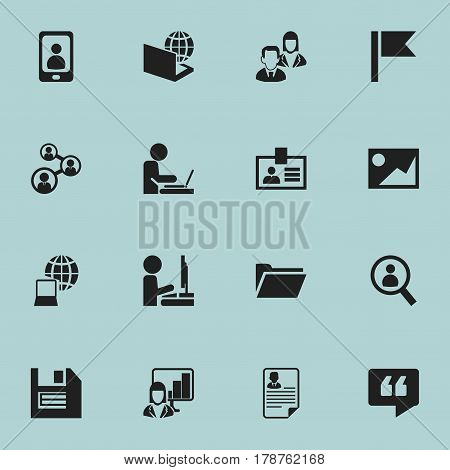 Set Of 16 Editable Office Icons. Includes Symbols Such As Document, Picture, Authentication And More. Can Be Used For Web, Mobile, UI And Infographic Design.