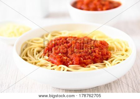 Traditional Italian Spaghetti alla Marinara (spaghetti with tomato sauce) in bowl photographed with natural light (Selective Focus Focus in the middle of the image)
