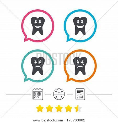 Tooth happy, sad and crying faces icons. Dental care signs. Healthy or unhealthy teeth symbols. Calendar, internet globe and report linear icons. Star vote ranking. Vector