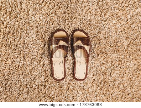 Brown slippers stand in the middle of a beige carpet
