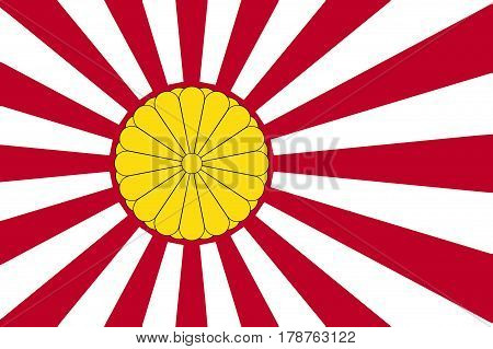 The rising sun Japanese flag in red and white with the Imperial Seal inset