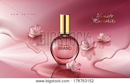 Vector illustration of a realistic style perfume in a glass bottle on a pink background with sakura flowers. Great advertising poster for promoting a new fragrance