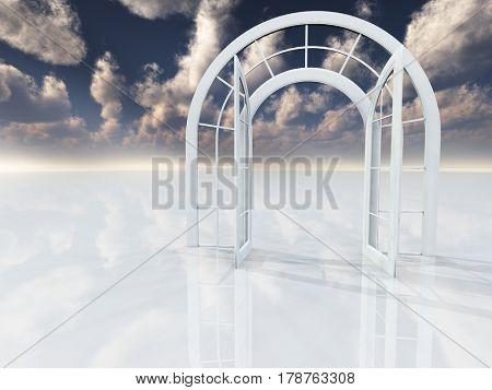 Arch doorway.     3D Rendering