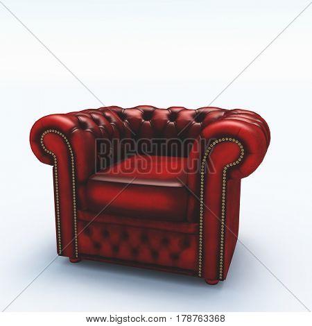 Red armchair     3D Rendering