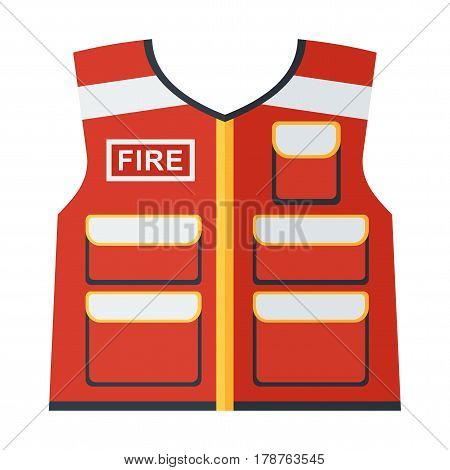 Fire Vest On White