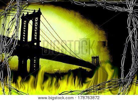 Manhattan bridge. Fire and barbwire.     3D Rendering