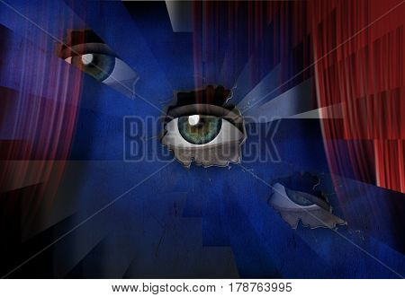 Surreal painting. Eye watching through hole in wall.     3D Rendering