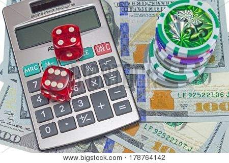 Two dices with US dollar and calculator on white background