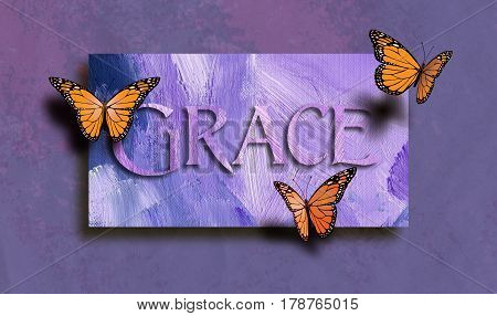 Graphic composition of the Christan Biblical concept of 'Grace'. Digital art composed of type and illustration against hand painted textured background