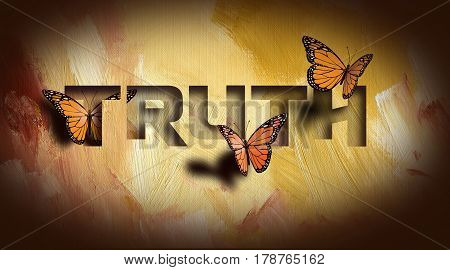 Graphic composition of the Christian Biblical concept of 'The Truth shall set you free'. Digital art composed of type and illustration against hand painted textured background.