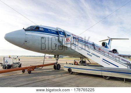 Minsk Minsk National Airport Belarus - Oct 01 2016: Tupolev Tu-154 EW-85741 Belavia Airlines before flight to Gomel