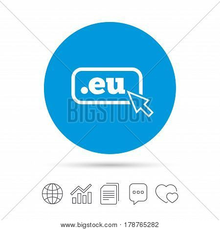 Domain EU sign icon. Top-level internet domain symbol with cursor pointer. Copy files, chat speech bubble and chart web icons. Vector