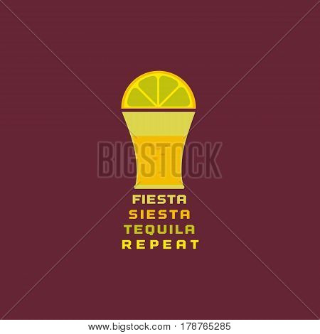 Mexican poster concept. Freehand drawn flat style. Fiesta Siesta in Spanish festival rest. Bottle, shot glass of tequila, lime lemon. Traditional symbol of Mexico. Vector element banner background