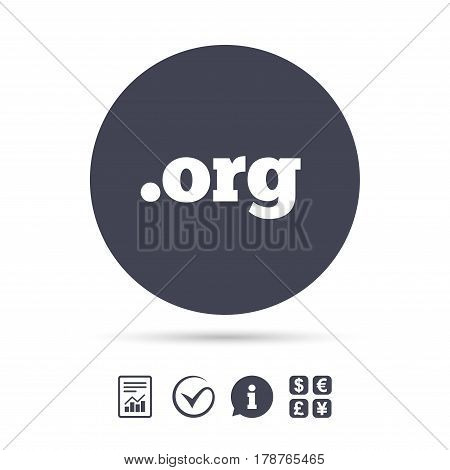 Domain ORG sign icon. Top-level internet domain symbol. Report document, information and check tick icons. Currency exchange. Vector