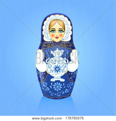 Gzhel painting blue russian babushka or matrioshka doll with samovar on blue background. Russian souvenir. Realistic vector illustration.