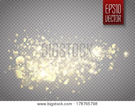 Vector golden glittering star dust trail. Shine particles isolated on transparent background. Dust cloud with glow light