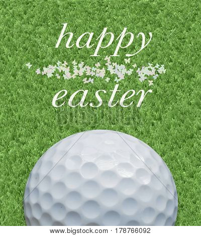 Golf and happy Easter greeting card on lawn background and golf ball and butterflies decoration.