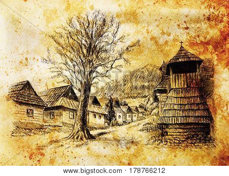 vintage mountain oldtime willage with wooden houses and belfry, pencil drawing on papier, sepia effect