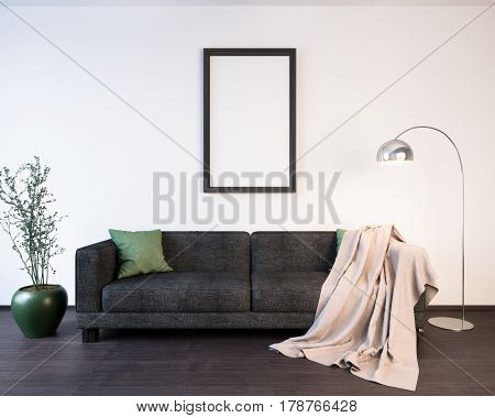 Mockup Poster in the living room interior 3D illustration of a modern design