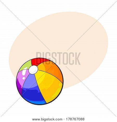 Rainbow colored inflated beach ball, sketch style vector illustration with place for text. Hand drawn colorful beach ball, symbol of summer vacation in tropical countries