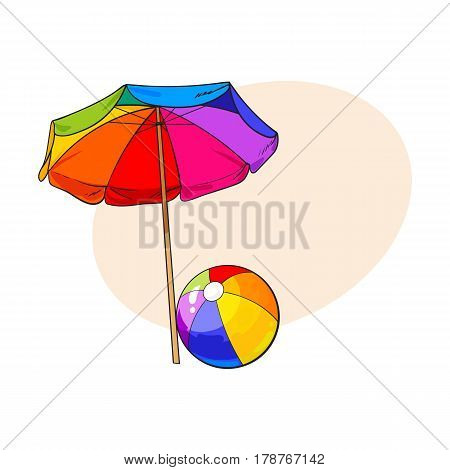 Rainbow colored, open beach umbrella and inflated ball, sketch vector illustration with place for text. Hand drawn sun shading umbrella and beach ball, summer vacation in tropical countries