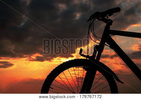 Sunset with a Bicycle, nice nature background Good Luck with your works
