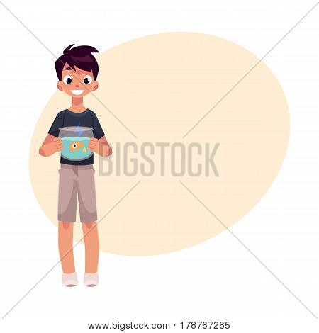Teen, teenage boy, child, kid holding little aquarium with goldfish, golden fish, cartoon vector illustration with place for text. Full length portrait of boy holding fish bowl, aquarium