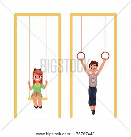 Kids, children at playground, hanging on gymnastic rings and swinging on swings, cartoon vector illustration isolated on white background. Boy and girl having fun at playground