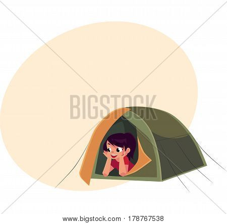 Teenage Caucasian girl looking out of tourist tent, camping, hiking concept, cartoon vector illustration with place for text. Girl scout, tourist lying in camping tent