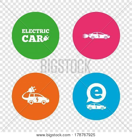 Electric car icons. Sedan and Hatchback transport symbols. Eco fuel vehicles signs. Round buttons on transparent background. Vector